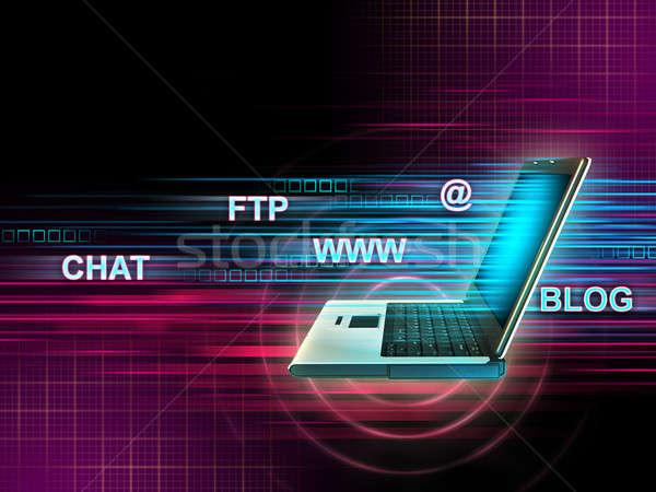 Internet diensten tonen laptop gebruikt toegang Stockfoto © Andreus