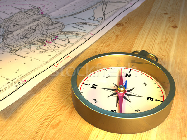 Compass and map Stock photo © Andreus