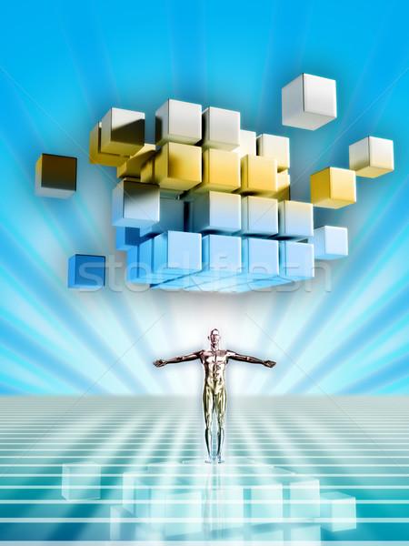 Gegevens man robotachtige humanoid cyberspace digitale illustratie Stockfoto © Andreus
