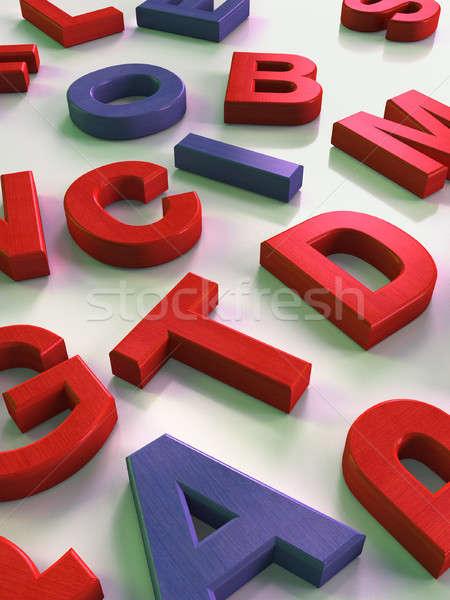 Alfabeto legno lettere superficie illustrazione digitale Foto d'archivio © Andreus
