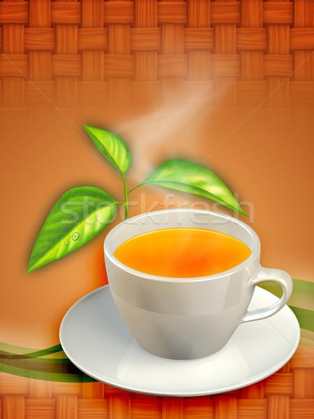 Beker zwarte thee bladeren digitale illustratie Stockfoto © Andreus
