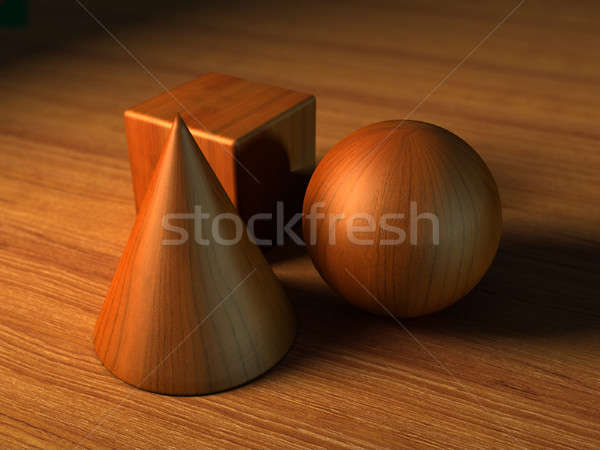 Forme sfera cono cubo legno Foto d'archivio © Andreus