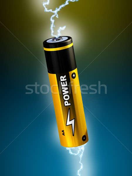 Batería electricidad ilustración digital metal azul Foto stock © Andreus