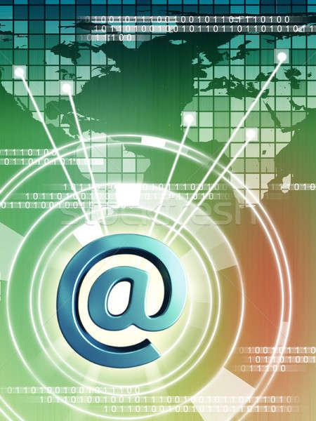 Világ email kapcsolódik különböző régiók digitális illusztráció Stock fotó © Andreus
