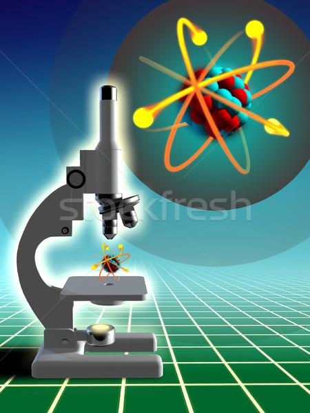 Laboratórium kutatás atom struktúra mikroszkóp digitális illusztráció Stock fotó © Andreus