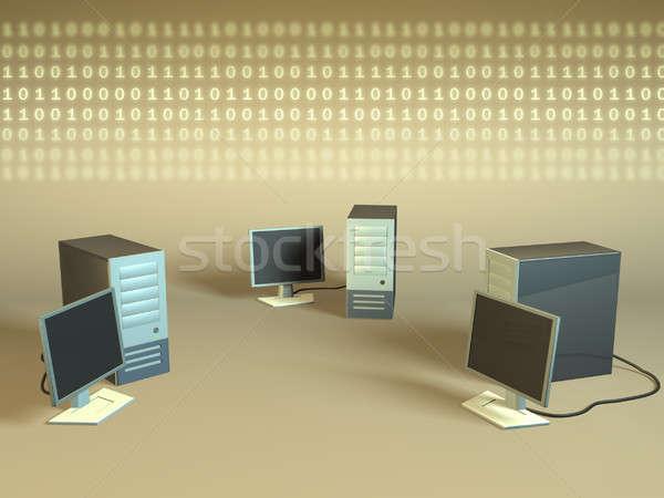 Komputera sieci pc dwójkowy danych strumienia Zdjęcia stock © Andreus