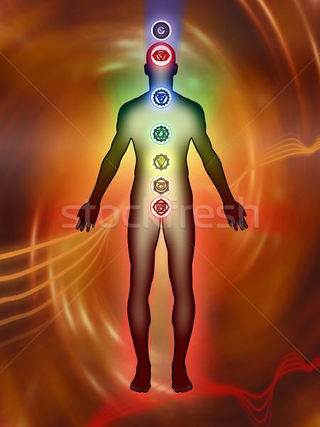 Chakra energía puntos hijo humanos cuerpo Foto stock © Andreus
