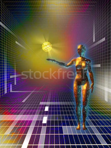 Ciberespaço feminino descobrir dados esfera Foto stock © Andreus