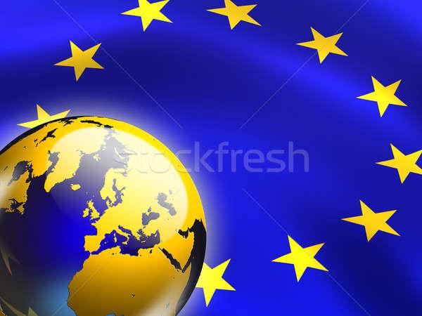 Europese unie vlag wereldbol digitale illustratie Blauw Stockfoto © Andreus