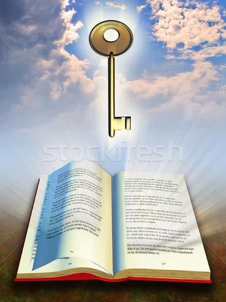 Libro chiave conoscenza libro aperto metal illustrazione digitale Foto d'archivio © Andreus