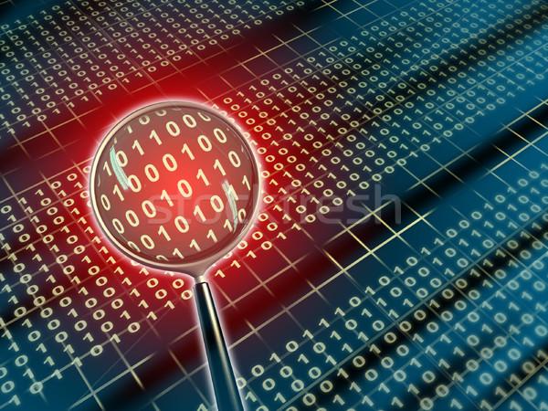 Datos análisis binario aumento lente ilustración digital Foto stock © Andreus