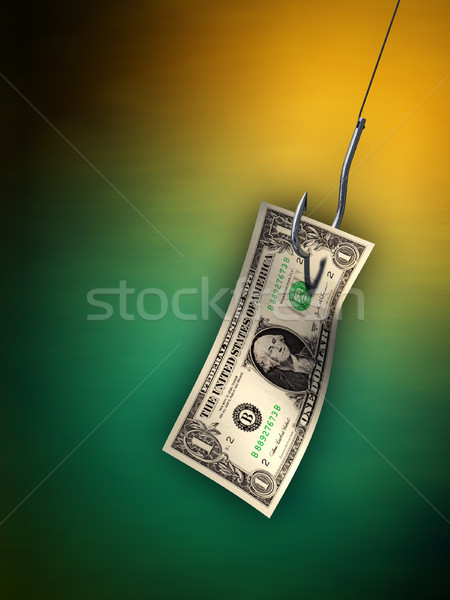 Geld aas dollar Bill opknoping haak Stockfoto © Andreus