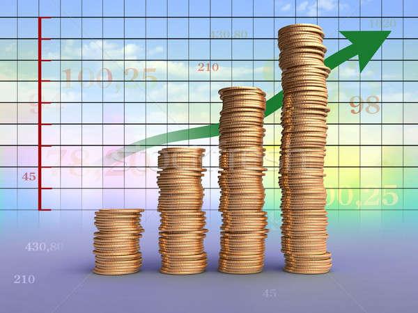 Ganancias gráfico monedas financieros ilustración digital cielo Foto stock © Andreus