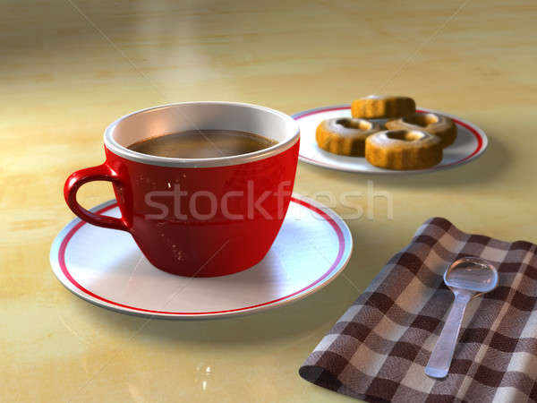 Przerwa na kawę kubek kawy herbatniki tabeli cg Zdjęcia stock © Andreus