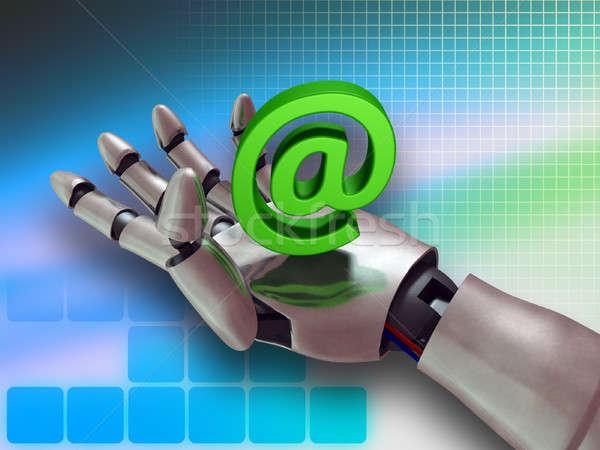 ストックフォト: インターネット · サービス · ロボットの · 手