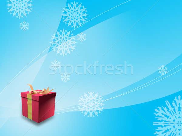 Karácsony ajándék doboz digitális illusztráció hó háttér kék Stock fotó © Andreus