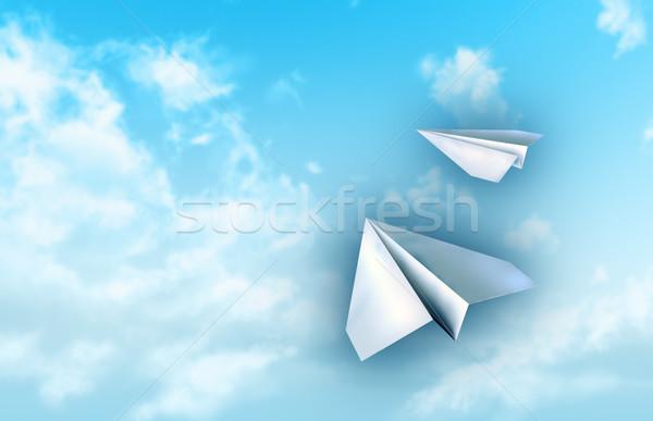 бумаги самолеты Flying Blue Sky Цифровая иллюстрация бизнеса Сток-фото © Andreus