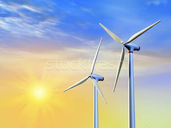 Чистая энергия солнце ветер Цифровая иллюстрация природы Сток-фото © Andreus