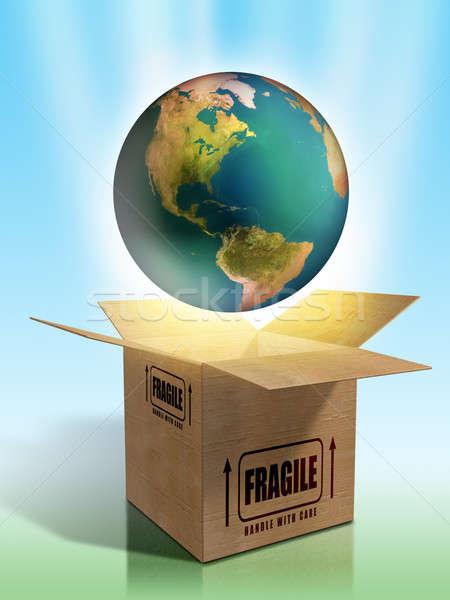 Törékeny Föld csomagolás Föld digitális illusztráció világ Stock fotó © Andreus