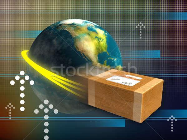 Snel levering pakketdienst rond wereld digitale illustratie Stockfoto © Andreus