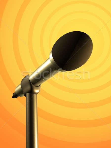 Microfono stand giallo arancione illustrazione digitale riunione Foto d'archivio © Andreus
