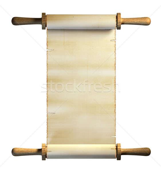Oud papier scroll witte digitale illustratie textuur Stockfoto © Andreus