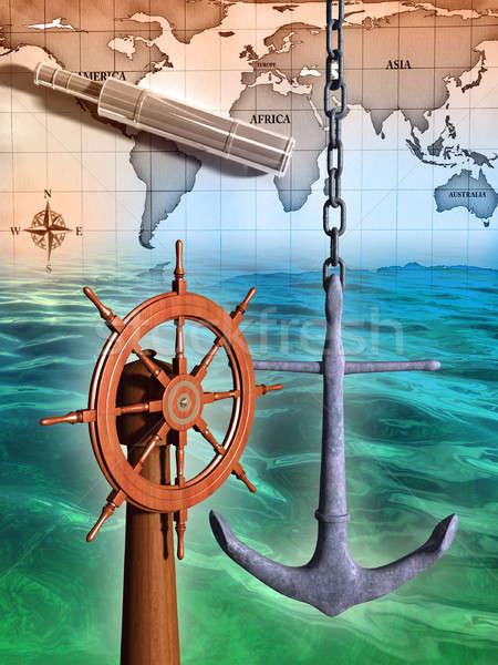 Navegação mar ilustração digital vidro fundo oceano Foto stock © Andreus