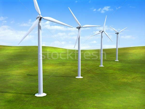 альтернатива энергии травой поле Цифровая иллюстрация природы Сток-фото © Andreus