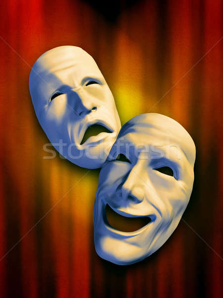 Theater maskers triest gelukkig warm digitale illustratie Stockfoto © Andreus