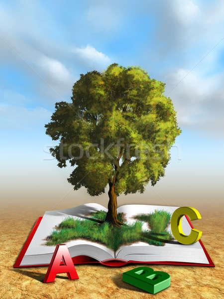 Conhecimento árvore livro aberto ilustração digital papel folha Foto stock © Andreus