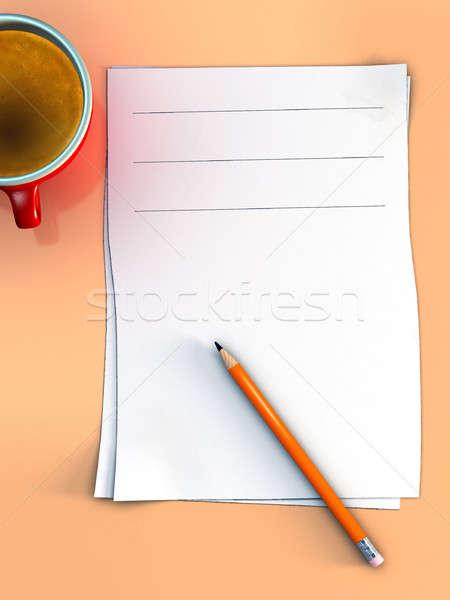 ストックフォト: オフィス · ノート · 紙 · シート · 鉛筆 · カップ