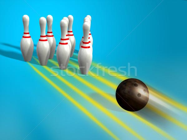 Bowling bal staking kunst spel snel Stockfoto © Andreus
