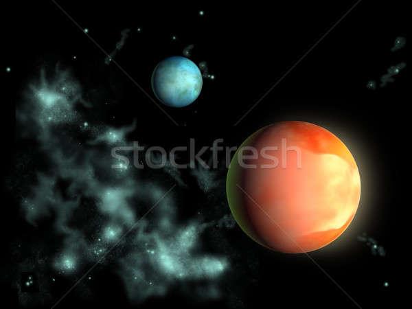 Distante planetas dos espacio exterior ilustración digital mundo Foto stock © Andreus