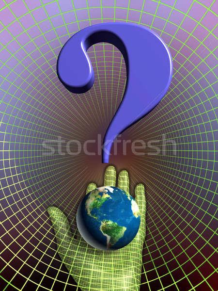 Terra futuro pianeta punto di domanda mano illustrazione digitale Foto d'archivio © Andreus