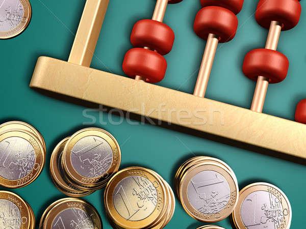Pénz abakusz Euro érmék zöld felület Stock fotó © Andreus