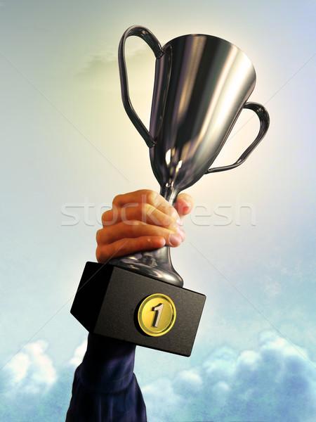 Eerste plaats mannelijke hand trofee digitale illustratie Stockfoto © Andreus