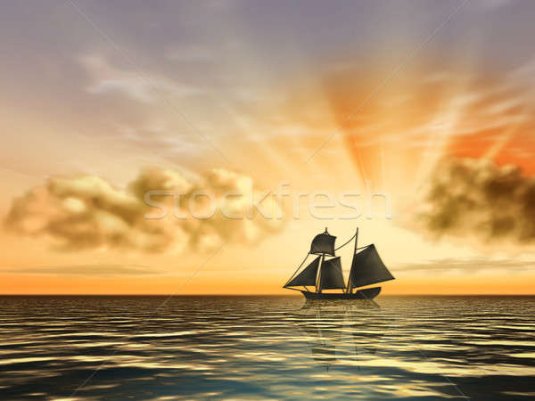 Ship at sunset Stock photo © Andreus