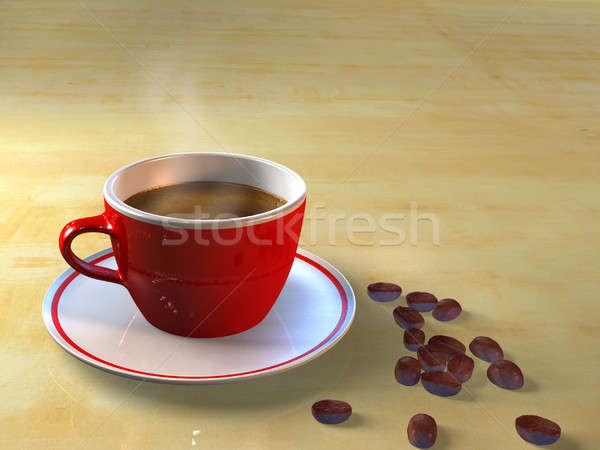 Coffee cup and coffee beans Stock photo © Andreus