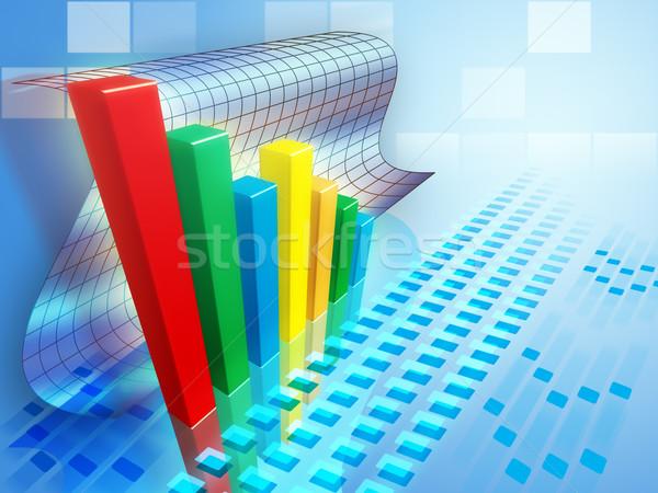гистограмма положительный тенденция Цифровая иллюстрация Финансы корпоративного Сток-фото © Andreus