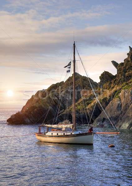 яхта Корнуолл Англии исторический рыбалки деревне Сток-фото © andrewroland