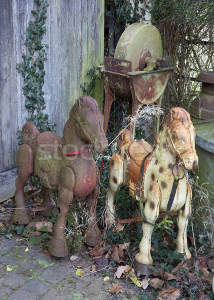 старые лошадей ржавые металл лошади Vintage Сток-фото © andrewroland