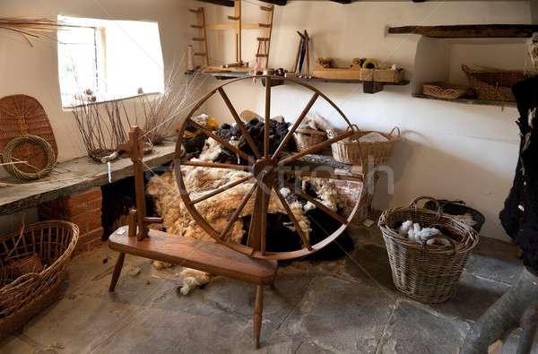 традиционный колесо семинар интерьер овец одежды Сток-фото © andrewroland