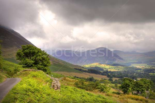Dramatique paysage lake district parc route pluie Photo stock © andrewroland
