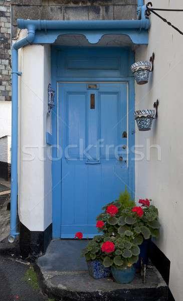 синий двери коттедж Корнуолл Англии архитектура Сток-фото © andrewroland
