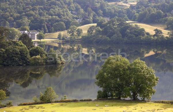 Belle réfléchissant lake district été Angleterre champs Photo stock © andrewroland