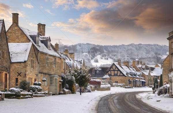 Dorp broadway sneeuw Engeland populair toeristische Stockfoto © andrewroland