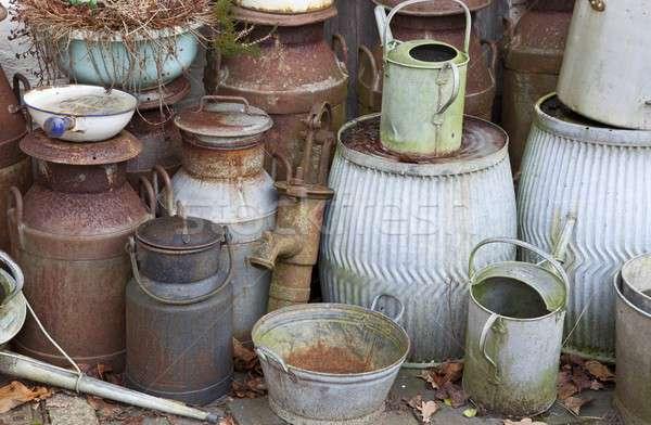 старые молоко металл саду знак Сток-фото © andrewroland