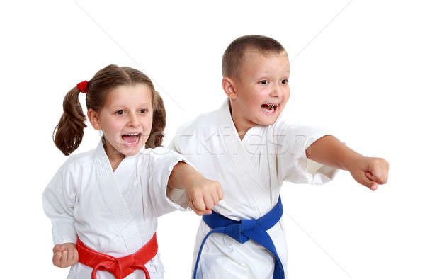 Young athletes in kimono beat a punch arm on a white background Stock photo © Andreyfire