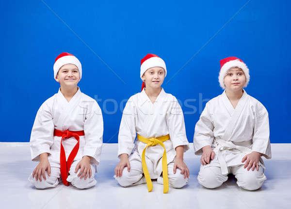 Enfants cap séance posent karaté Photo stock © Andreyfire