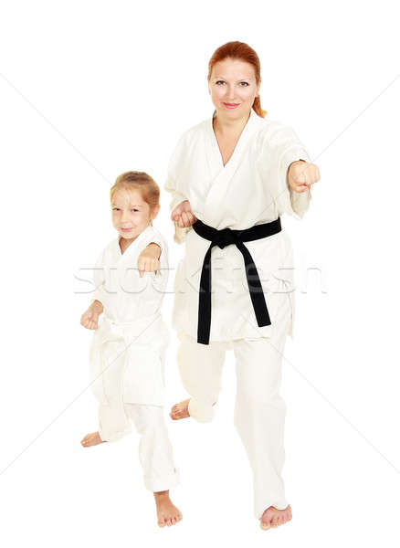 Mom and daughter in kimono punch hand Stock photo © Andreyfire
